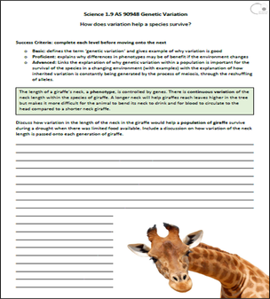 Worksheets Genetic Variation Worksheet s1 9 genetic variation ex gz science class online and survival worksheet